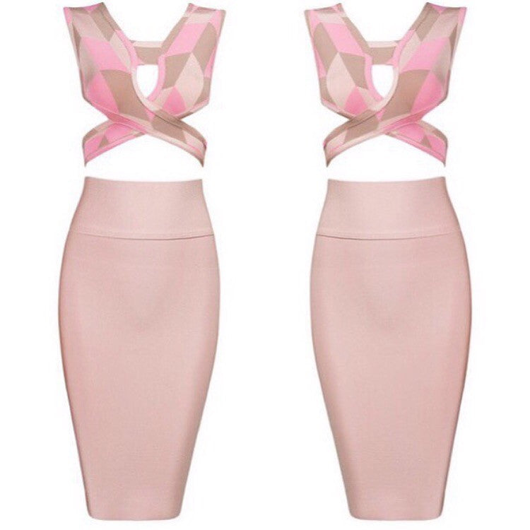 Strawberry Cream Bandage Top and Skirt Set