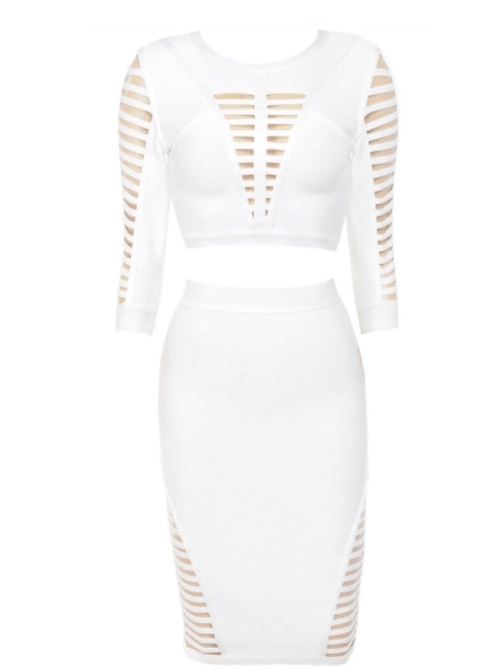 By chance white top and skirt set