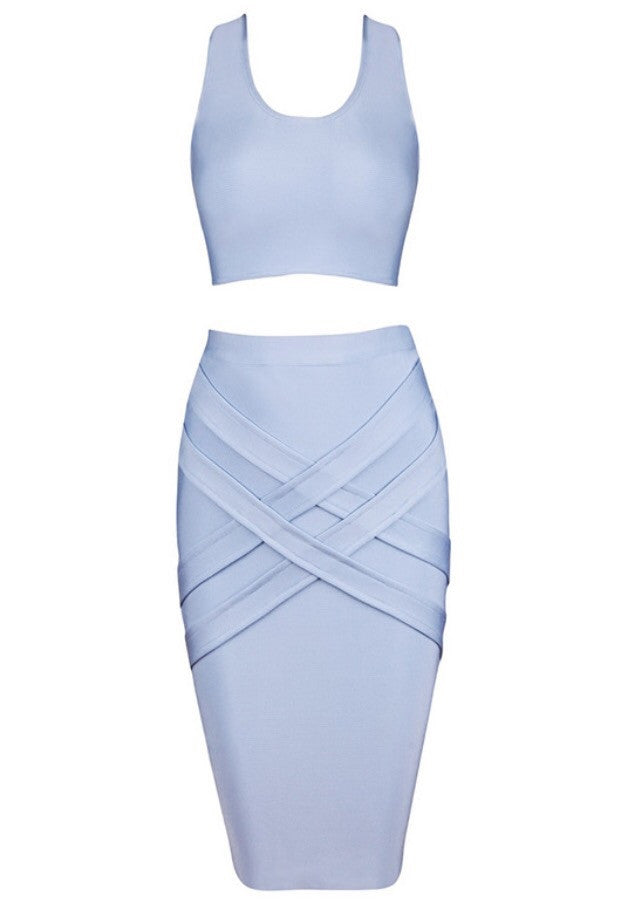 Hannah Blue Top and Skirt Set