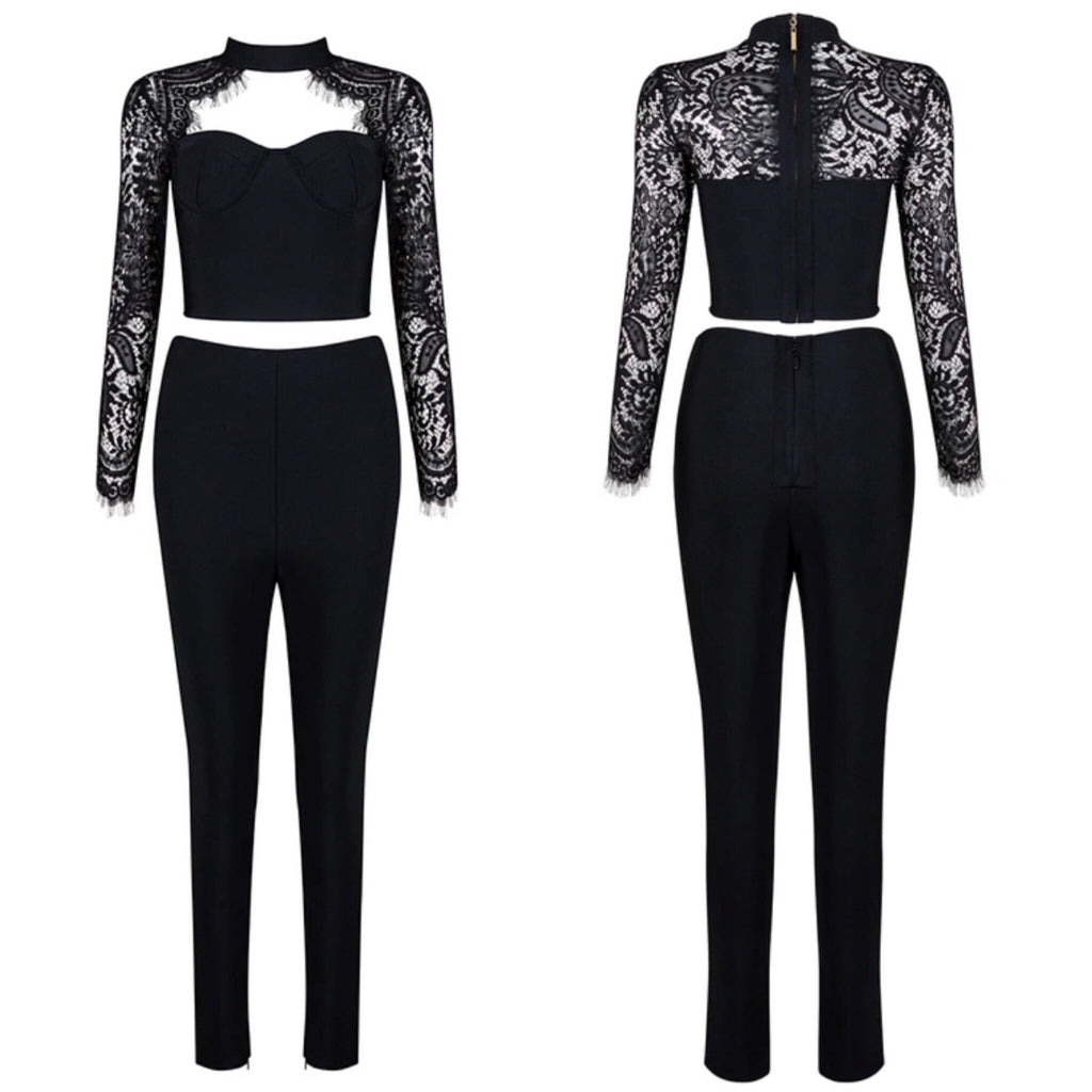 Alana black top and pant set