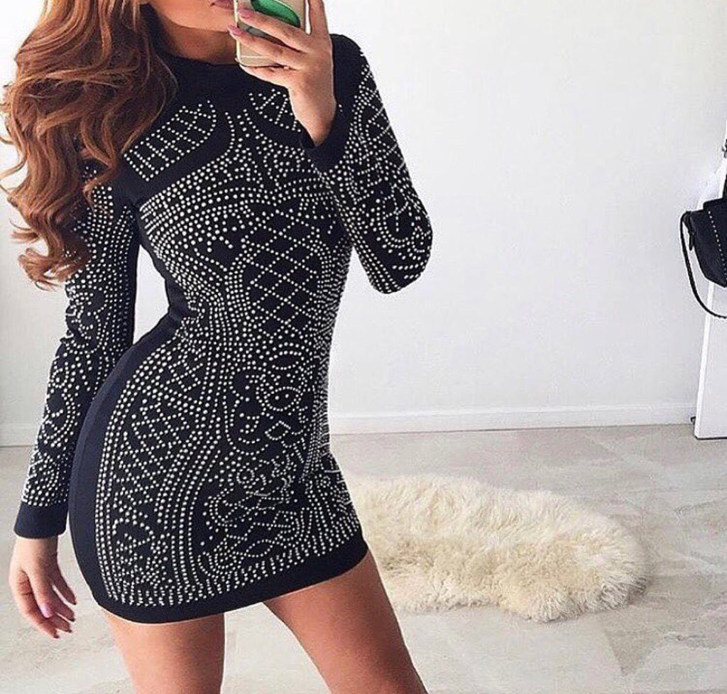 Reem black long sleeve dress