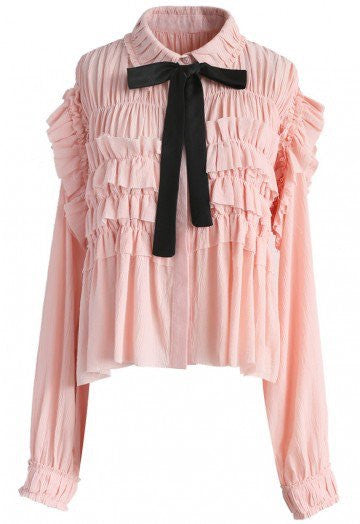 Mary pink ruffle blouse