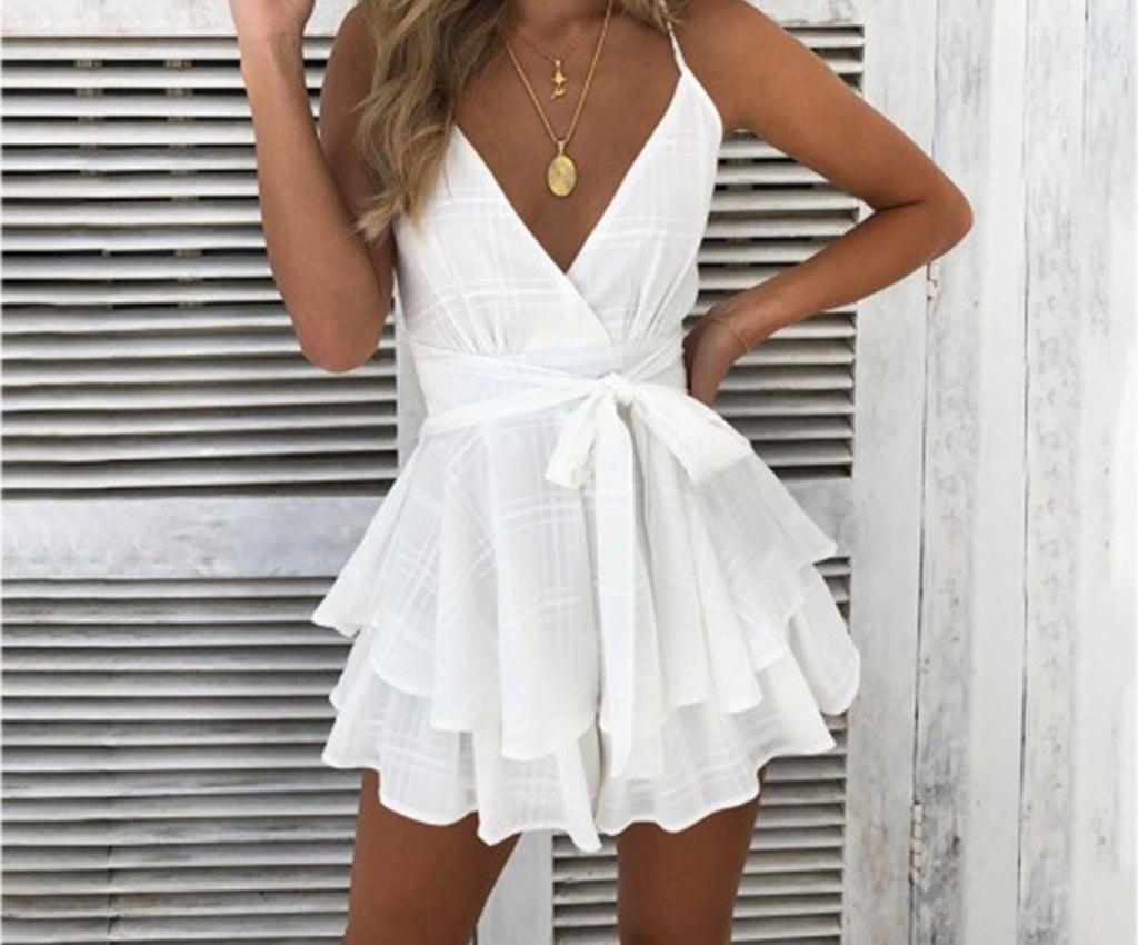 Lydia white playsuit