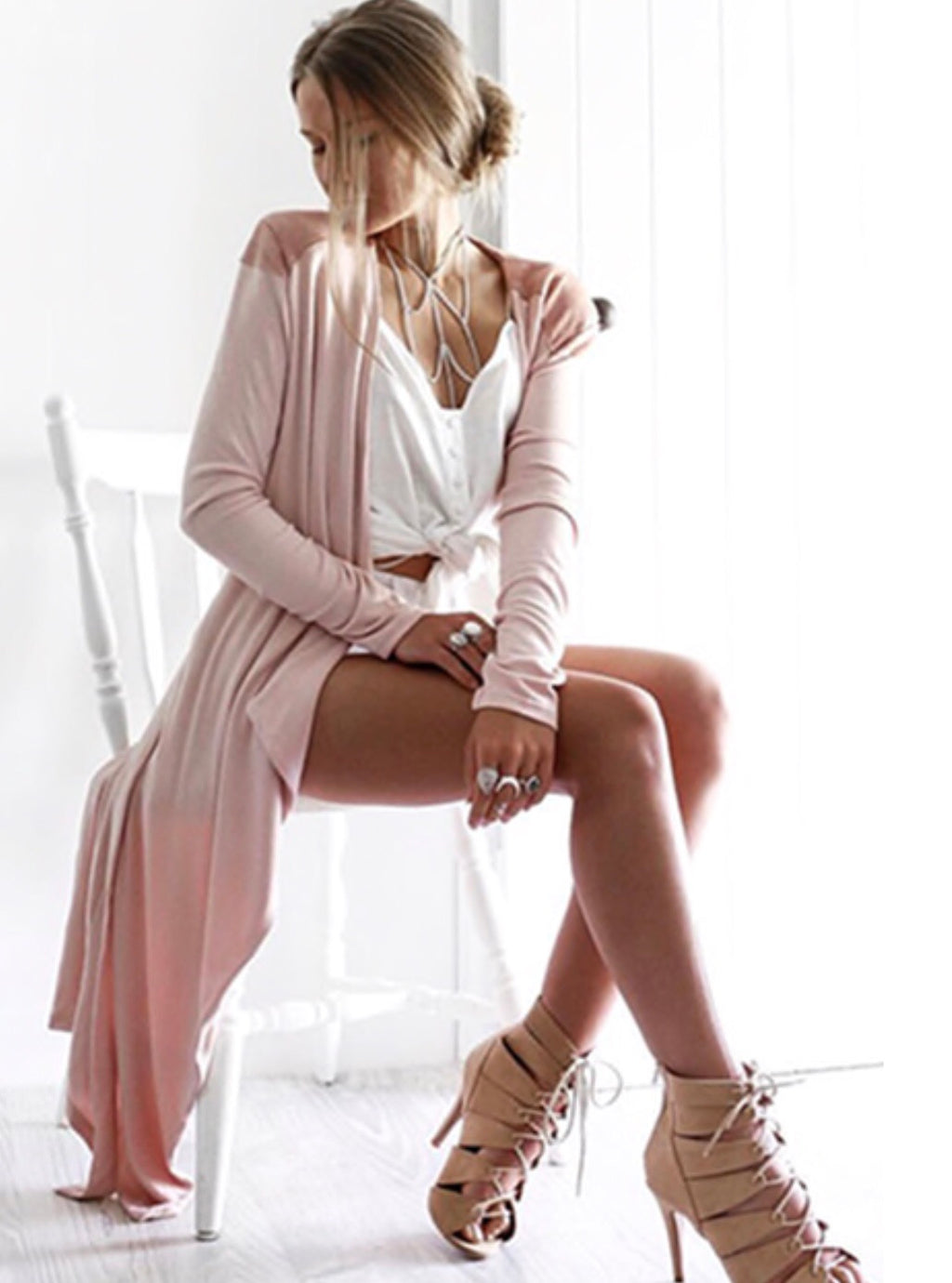 Cascade blush cardigan