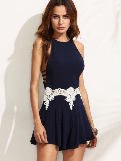 Poppy navy playsuit