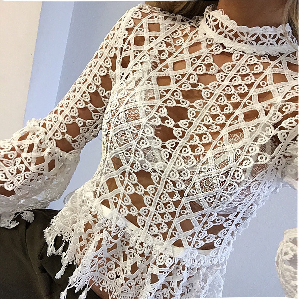 Belongi white crochet top