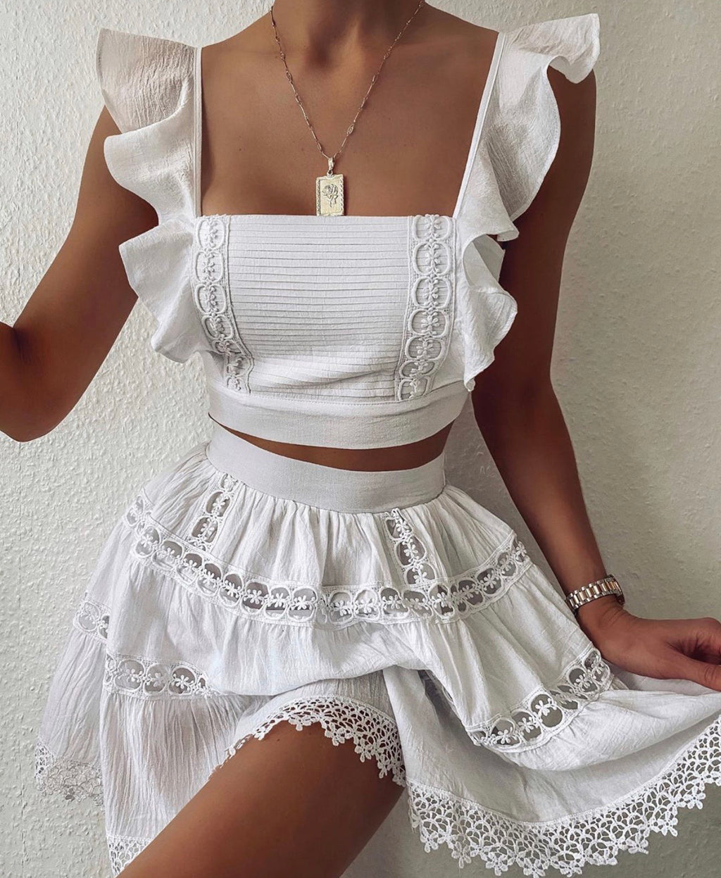 Isabelle white top and skirt (sold as seperates)