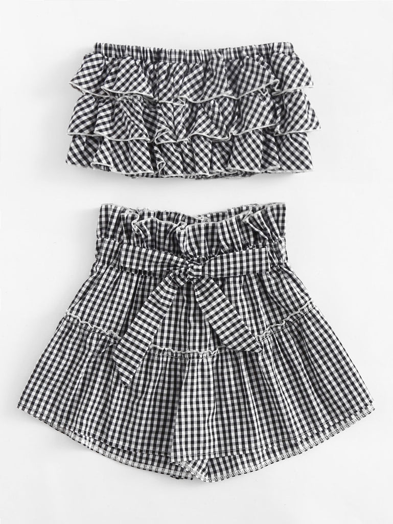 Ash gingham top and short set