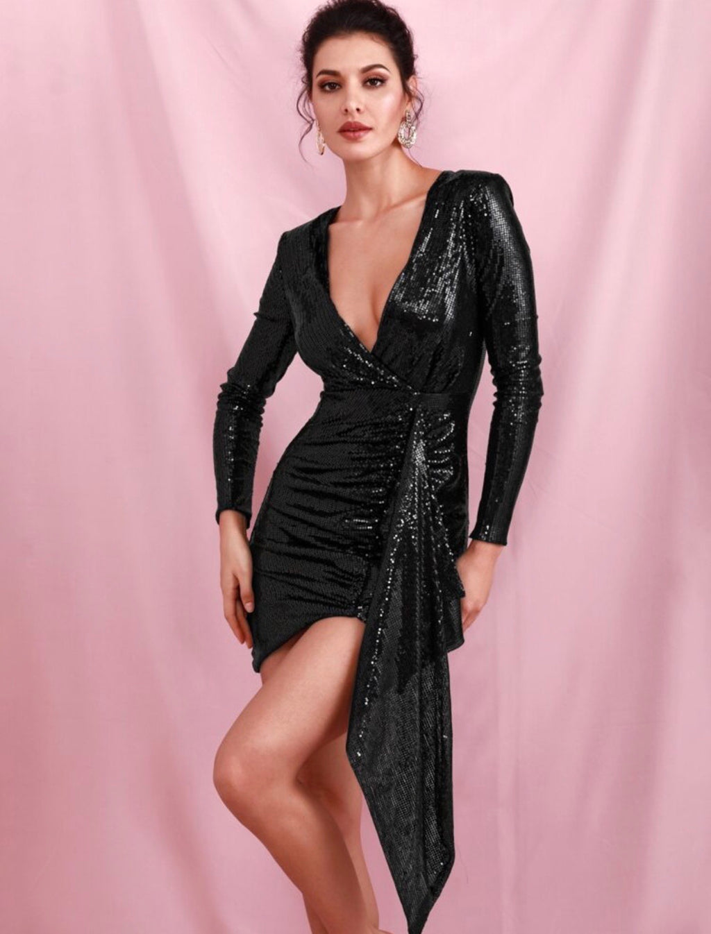 Hattie black sequin dress