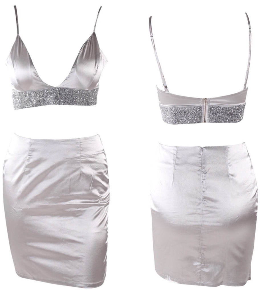 Marina silver crop top and skirt set