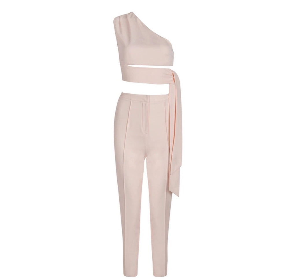 Eva blush crop top and pant set