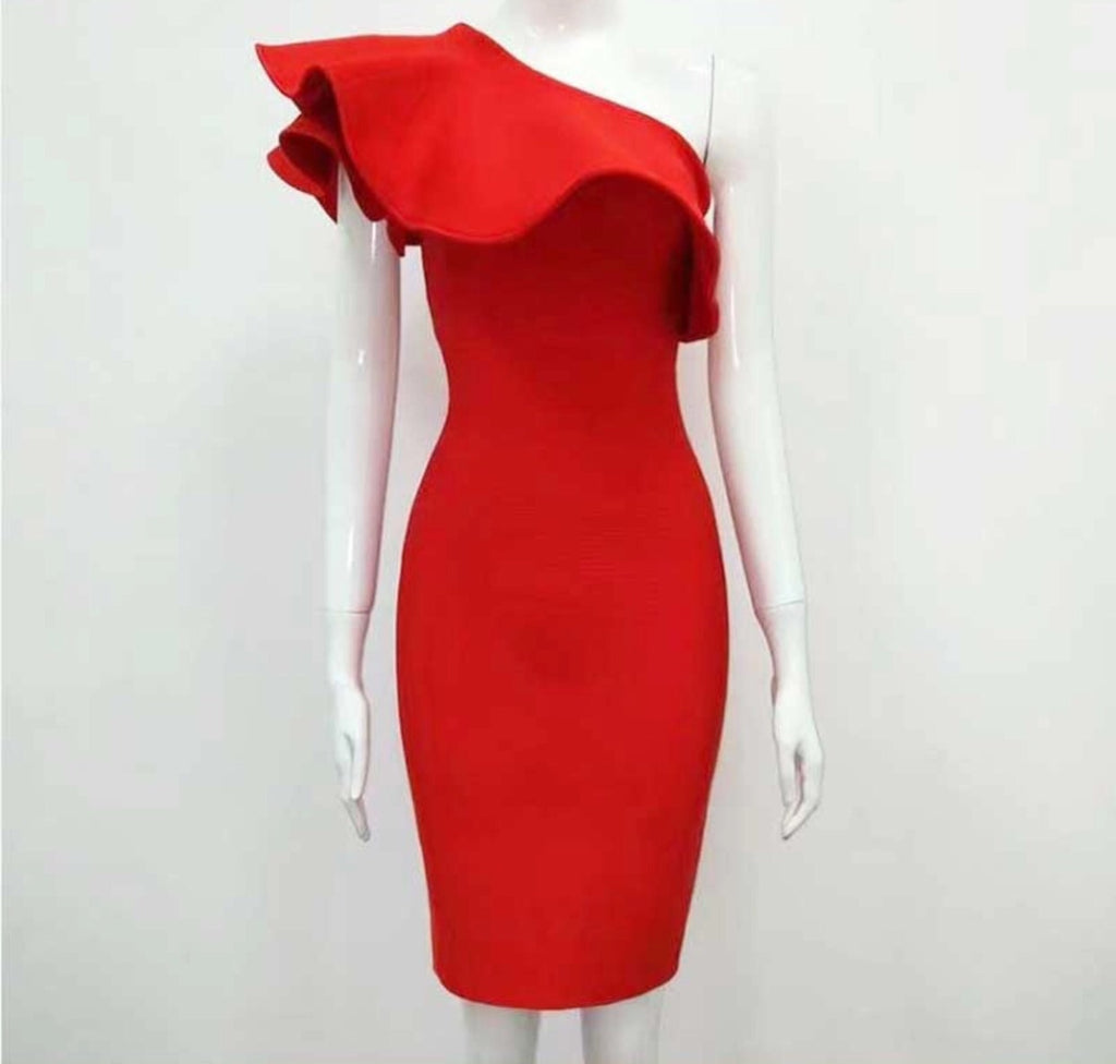 Jagger red one shoulder dress