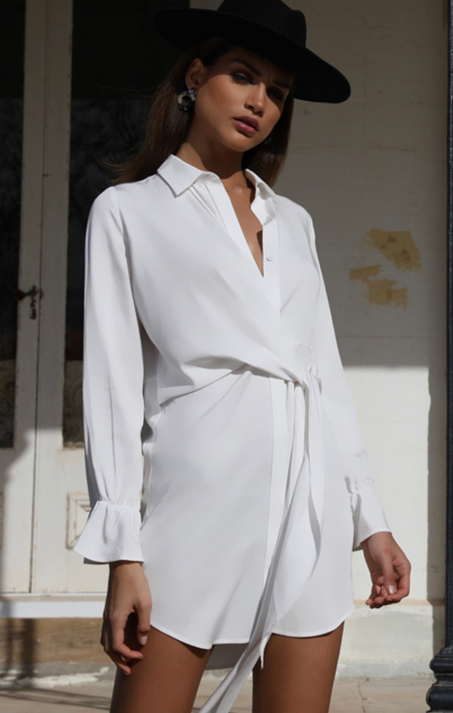 Cowgirl white shirt dress