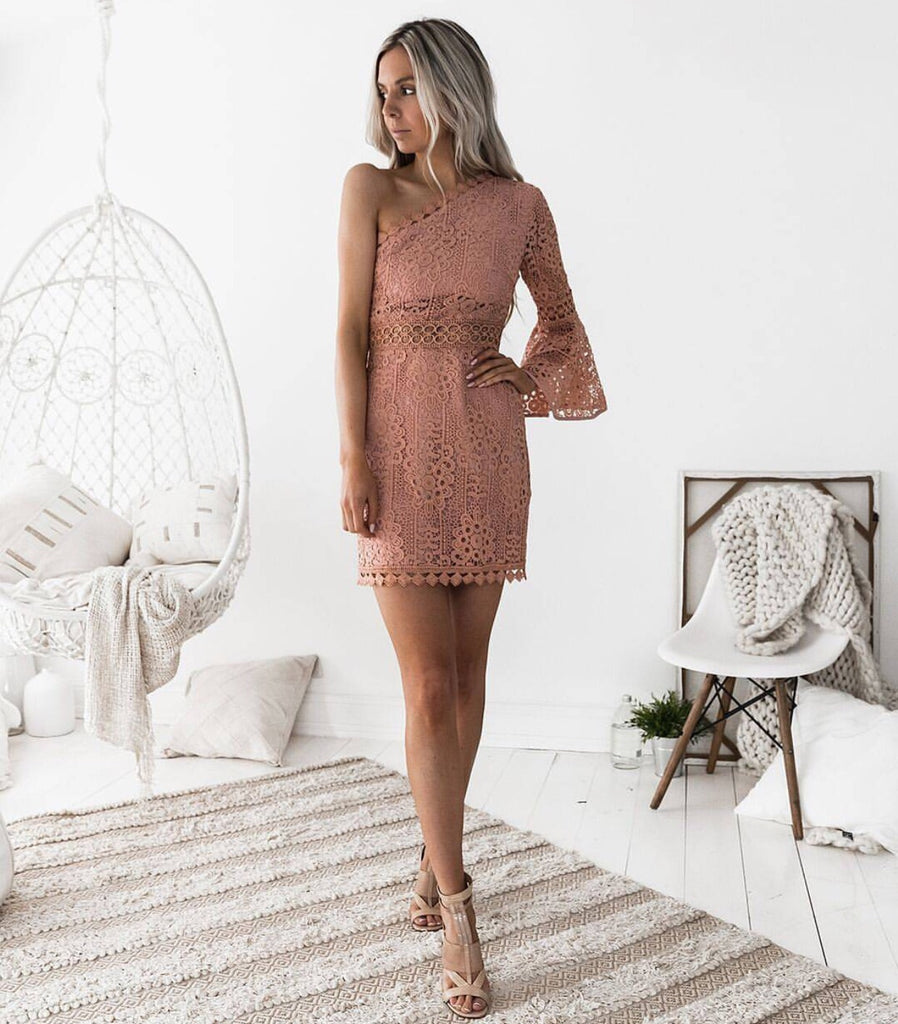 Elyse Blush one sleeve dress