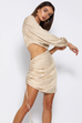 Alisa champagne draped dress
