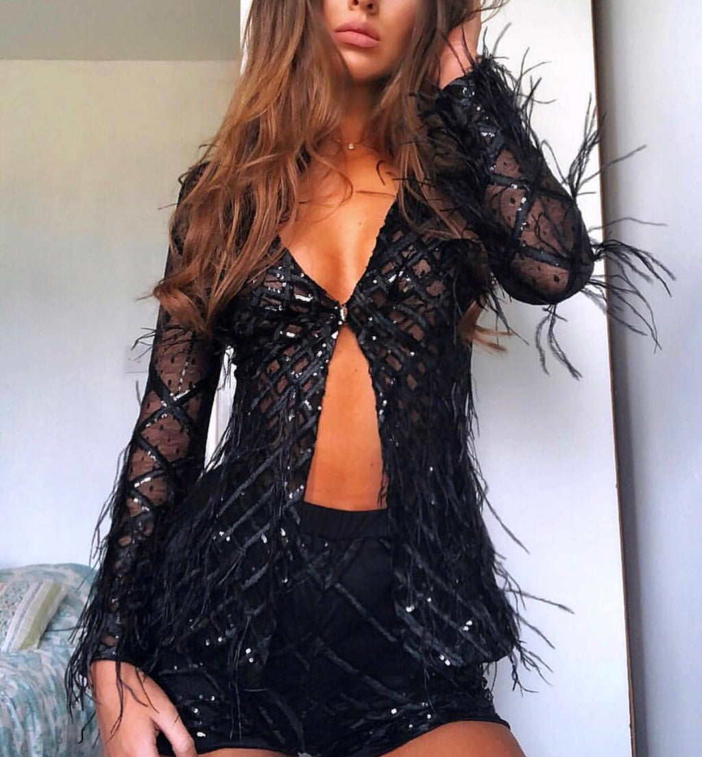 Mollie black top and short set