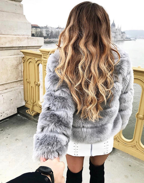 Isabel grey faux fur jacket