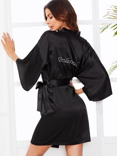 Bridesmaid black silk robe
