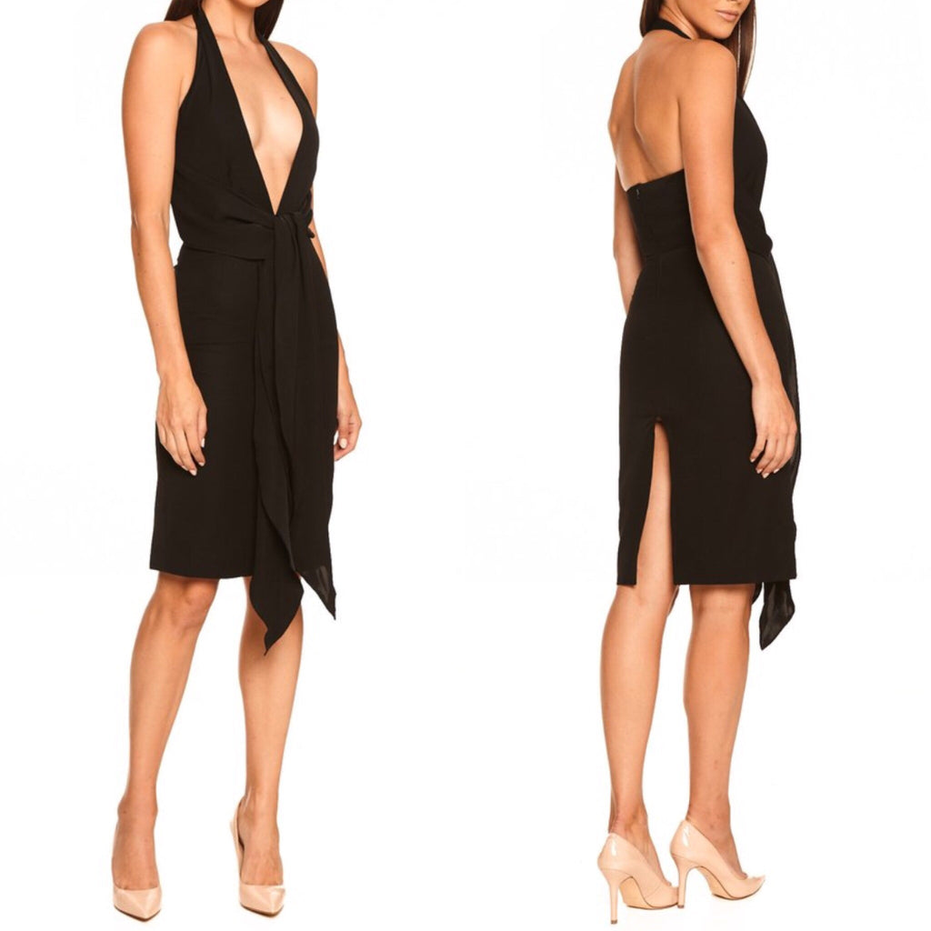 Tisia black deep v dress