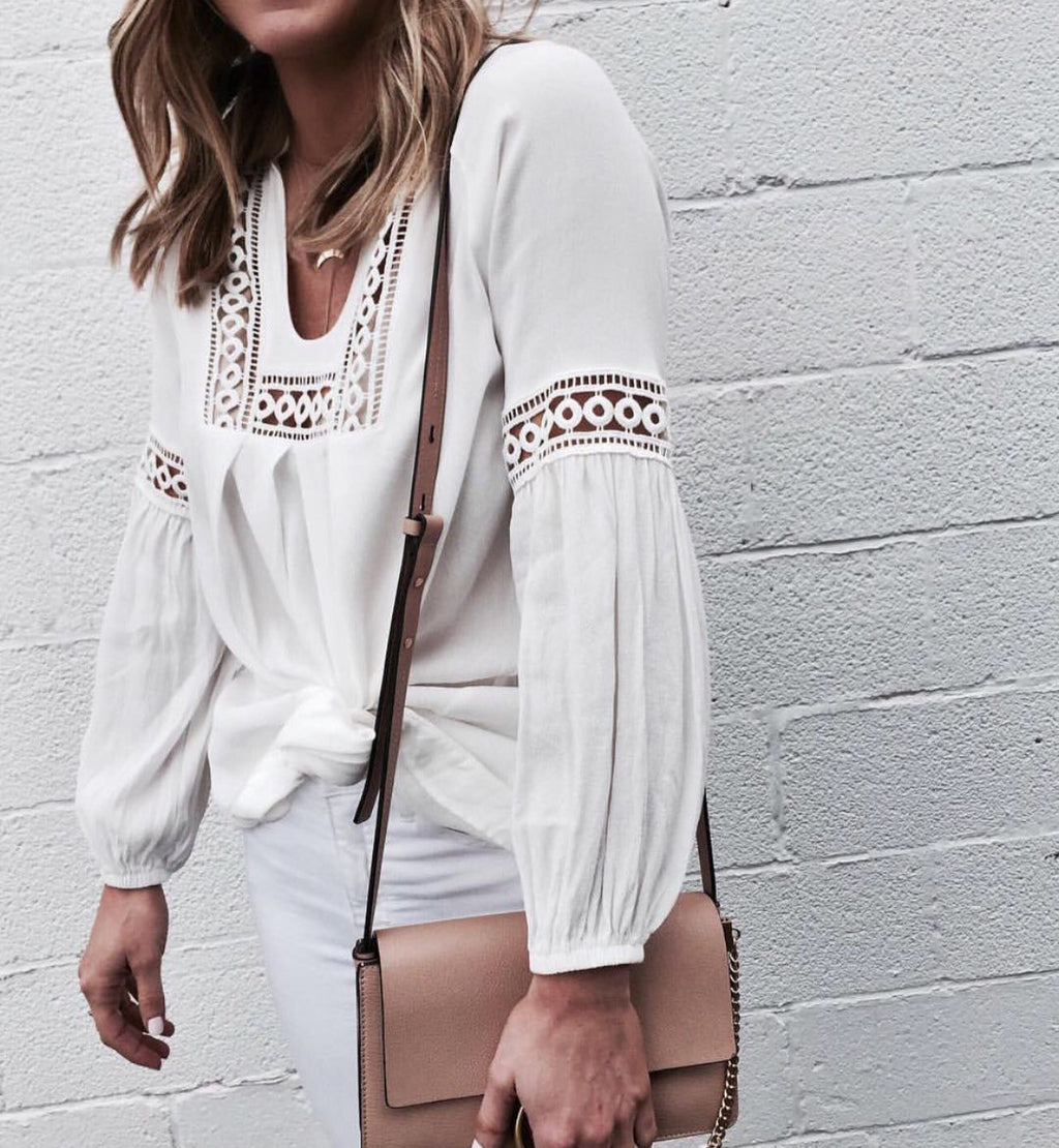 Daria White long sleeve blouse