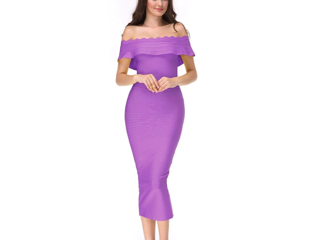 Mayda purple off the shoulder dress