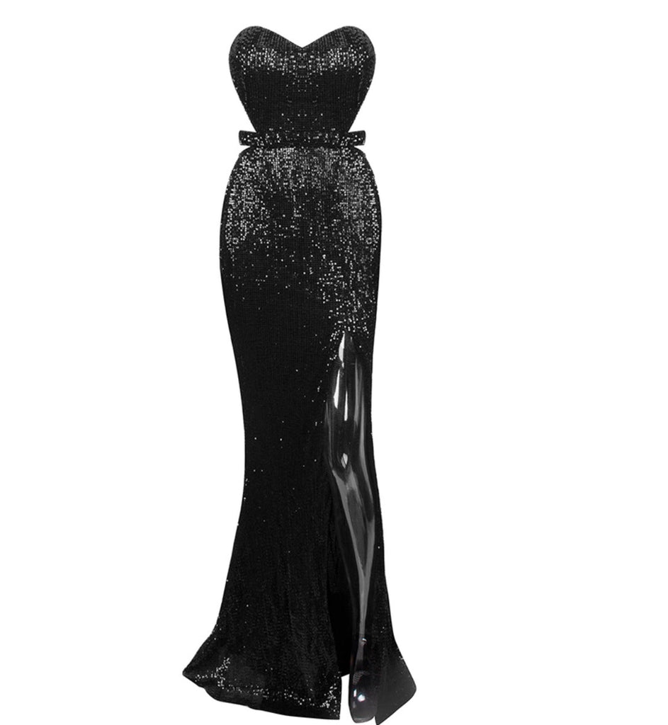 Abbey strapless maxi dress in black and silver