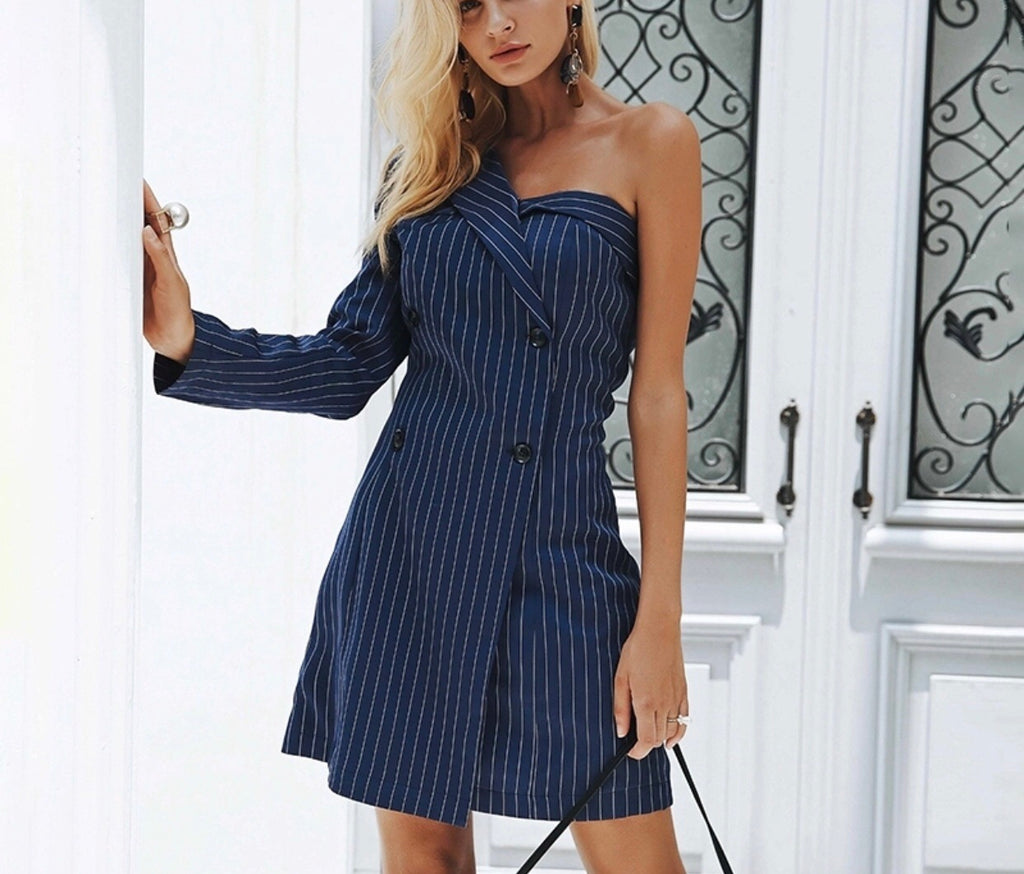 Kayla stripe one sleeve dress