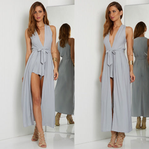 Valencia dove grey maxi playsuit