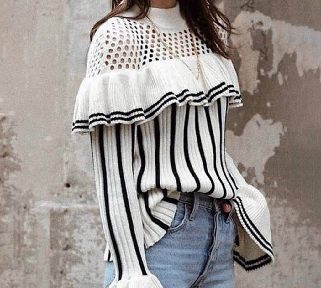 Cemi stripe lone sleeve top