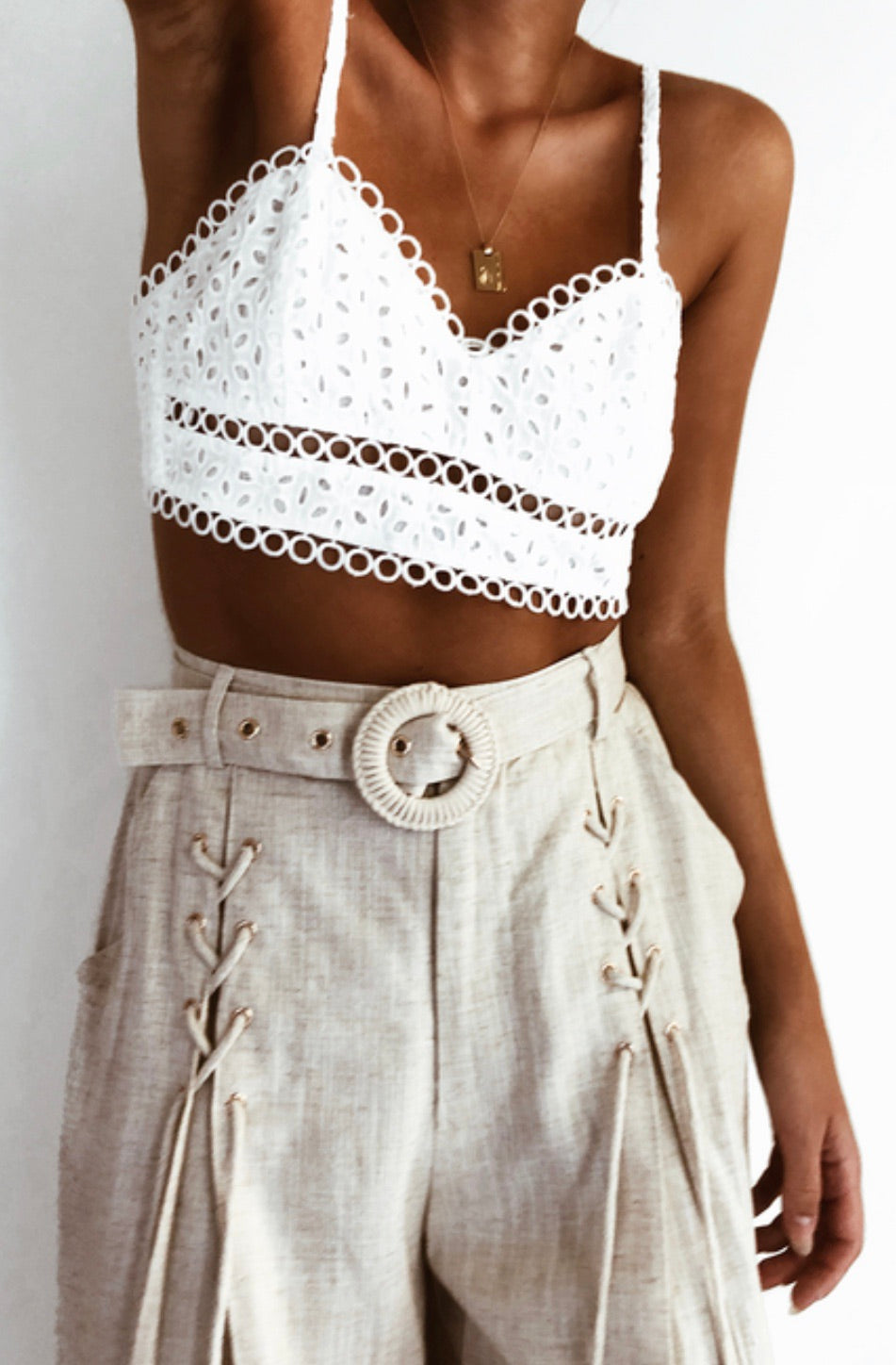 Broidery white bralette top