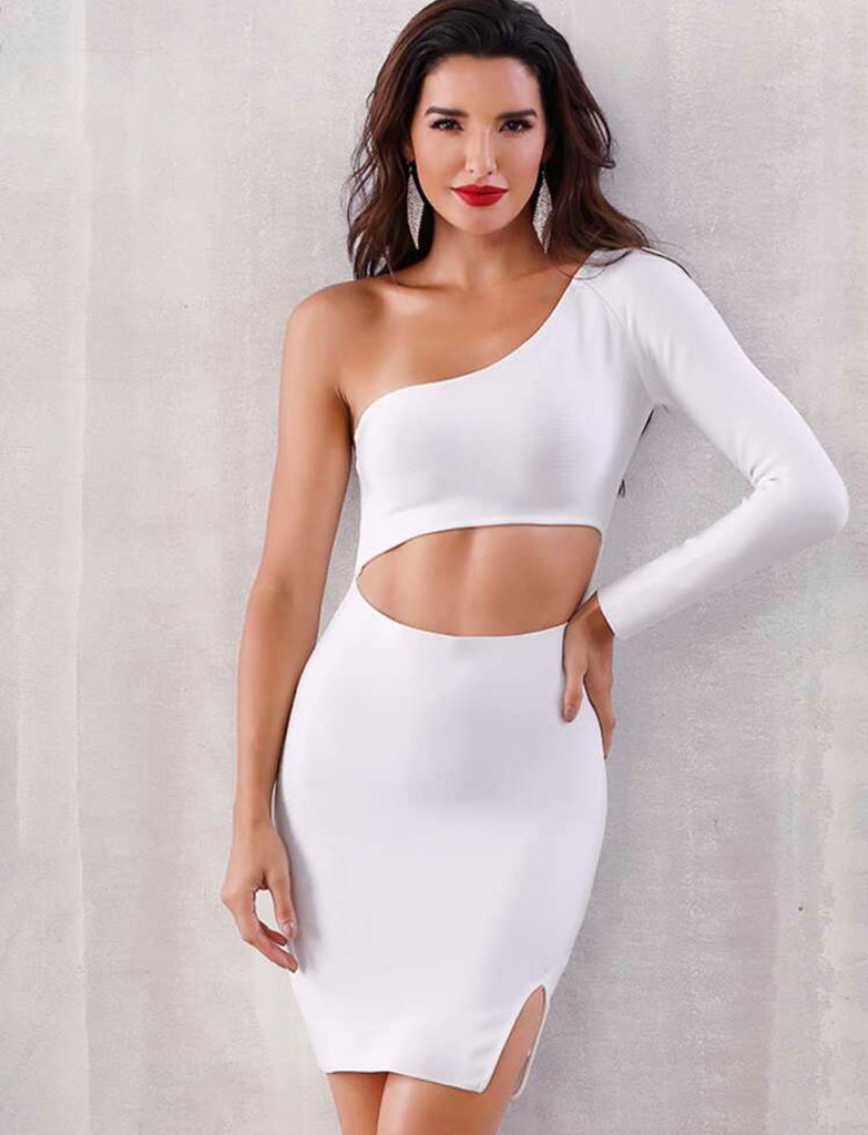 Tara white one sleeve dress