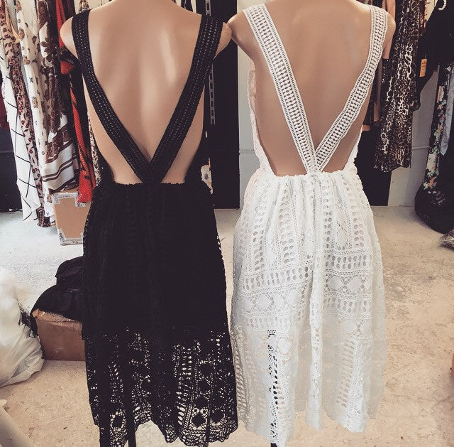 Saltlake Dress in White and Black