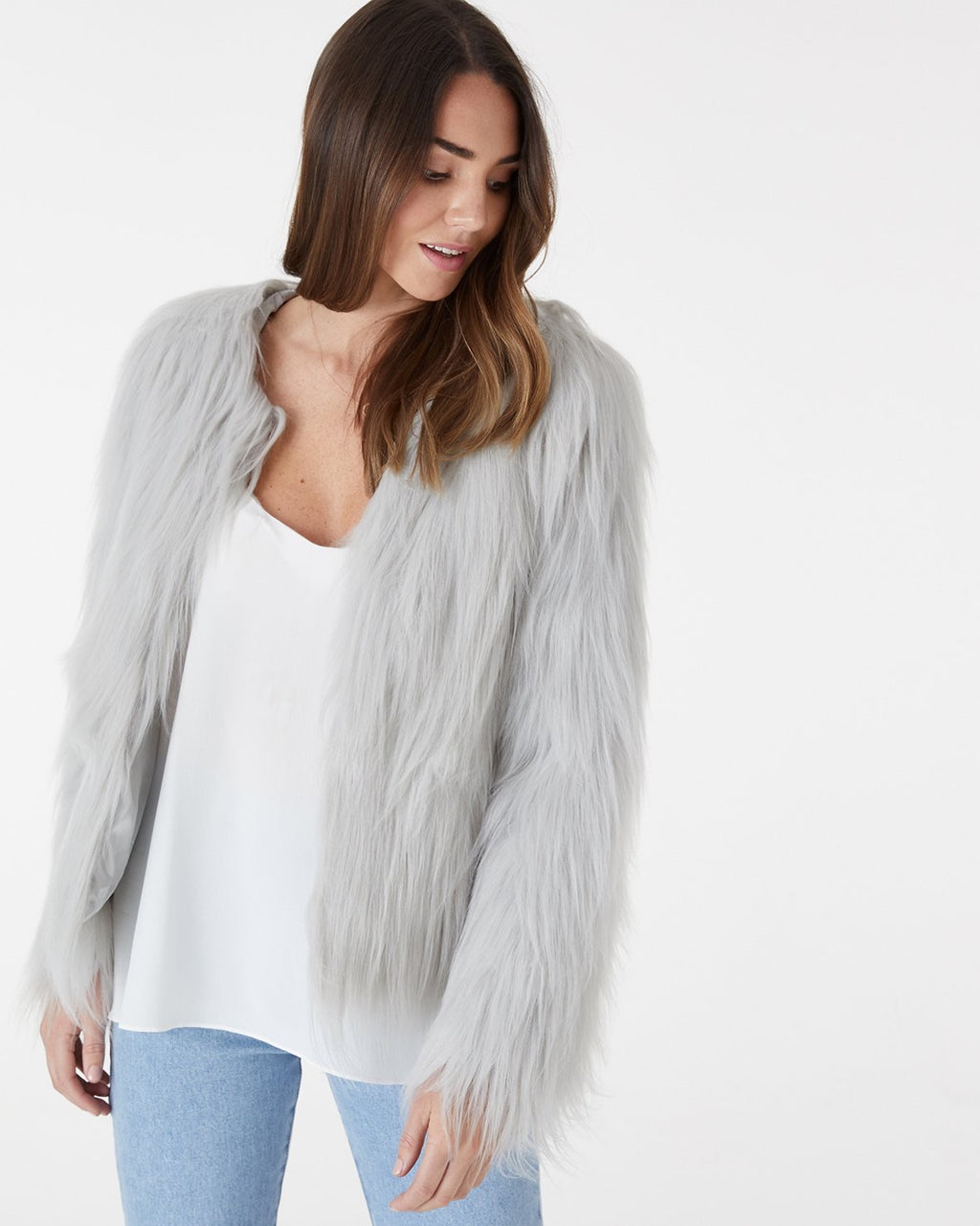Tess light grey faux fur jacket