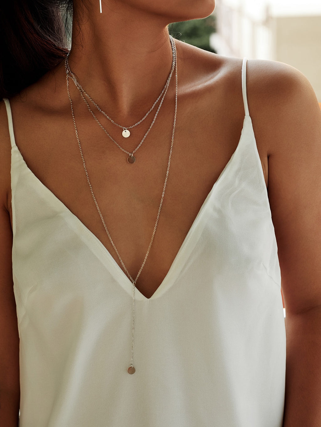 Georgie silver round layered necklace