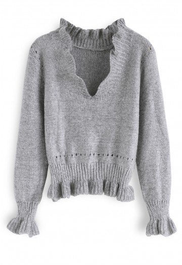 Raleigh grey knit top