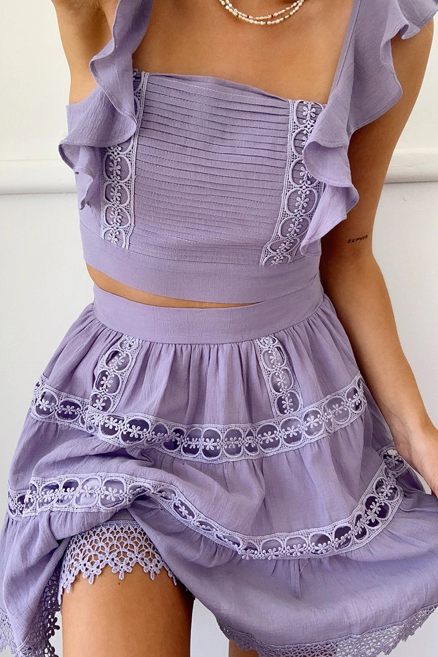 Isabelle lilac top and skirt (sold as seperates)