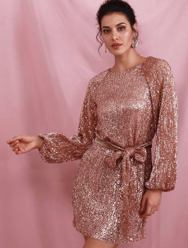 Adele champagne sequin dress