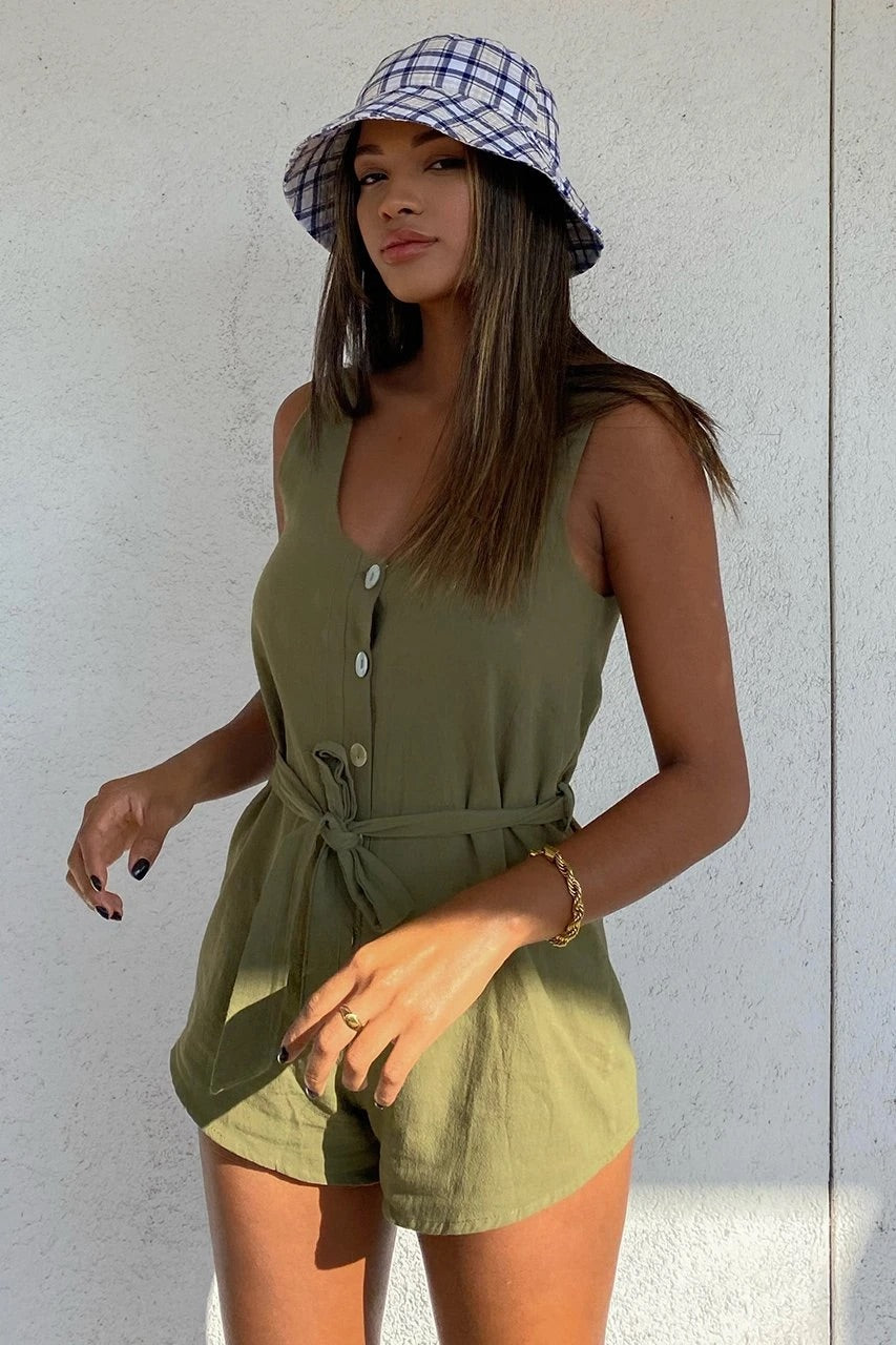 All day khaki playsuit