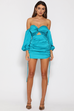 Pouffe teal mini dress