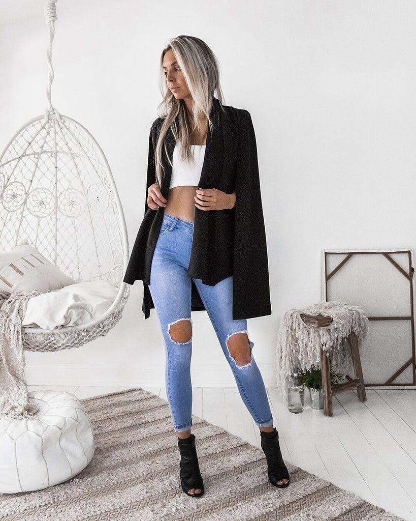 Lori black cape jacket