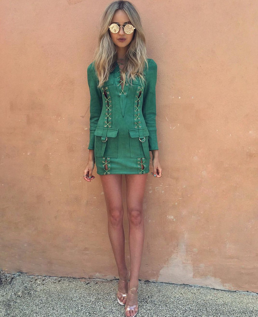 Chloe green suede dress