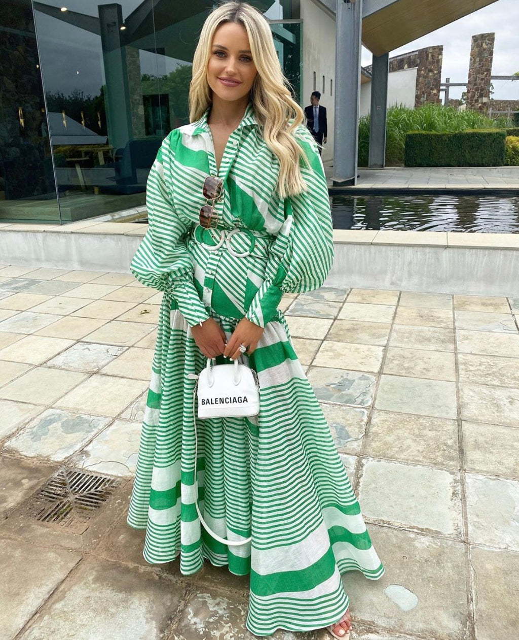 Mackenzie green and white maxi dress
