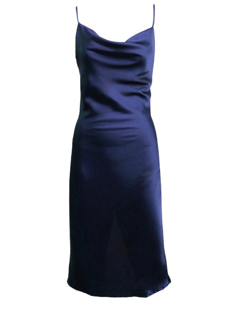 Angelina navy satin dress