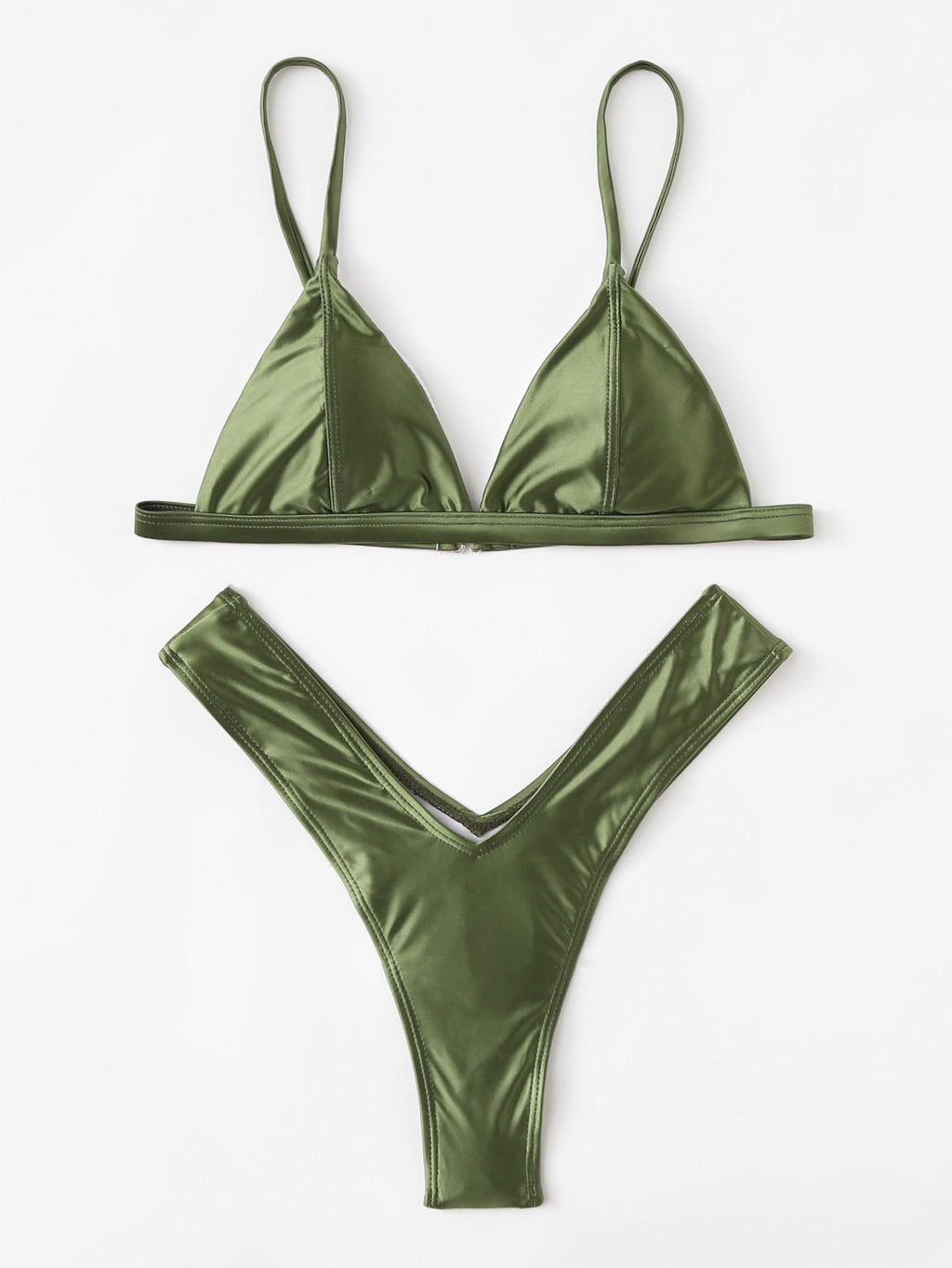 Natalie khaki sheen bikini set
