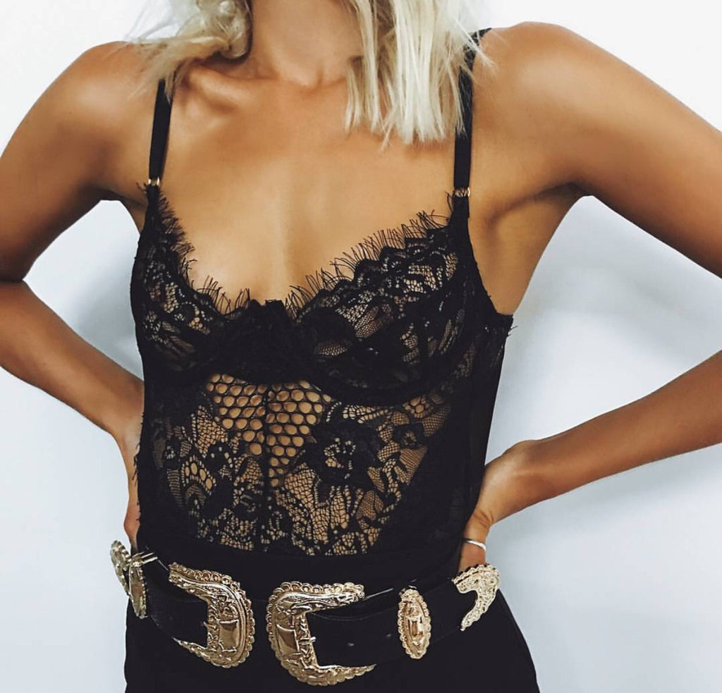 Monique black lace teddy bodysuit