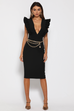 Frill plunge black midi dress