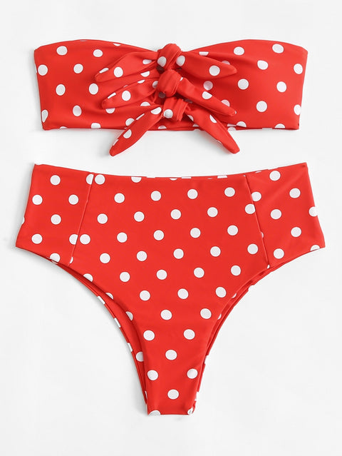 Lisa red polka dot bikini set