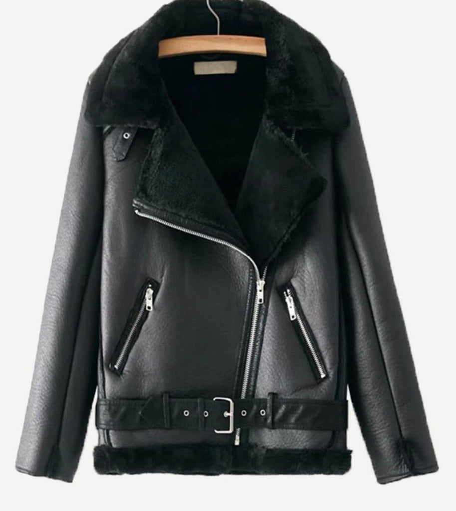Olivia black leather jacket