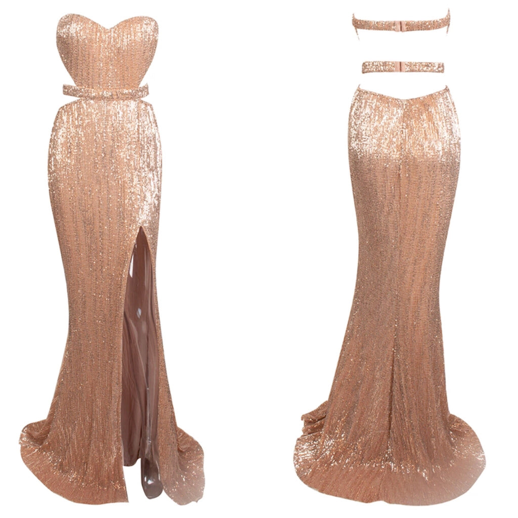Abbey strapless champagne gold maxi dress