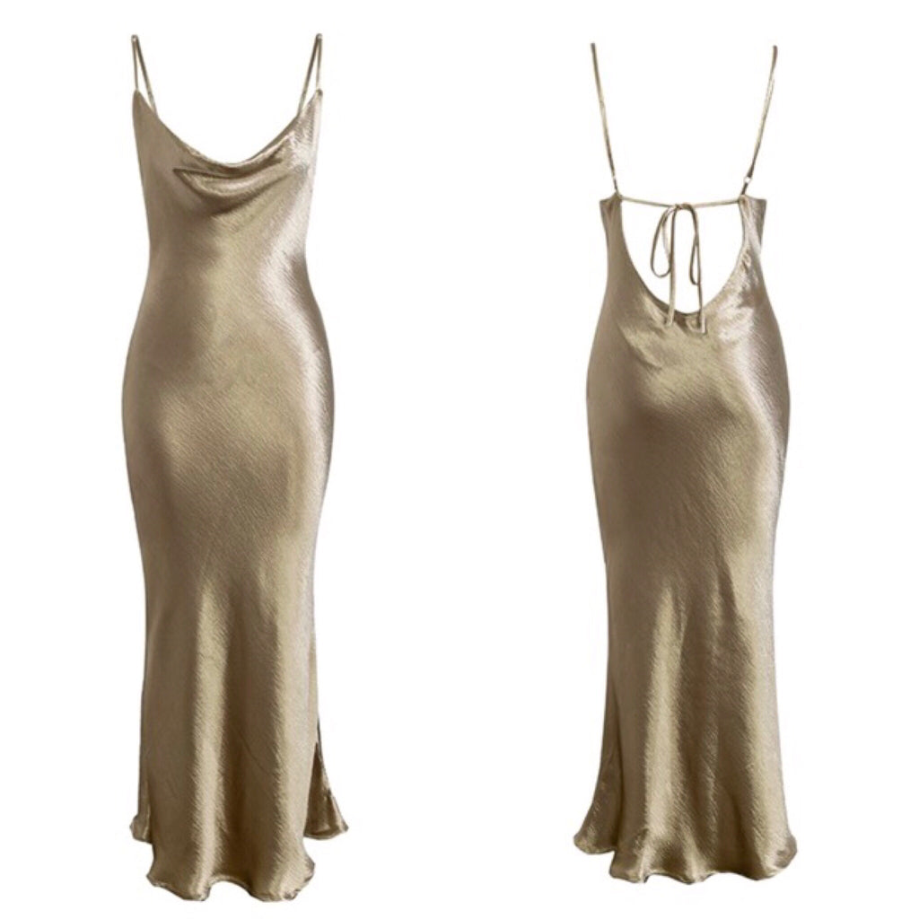 Ida gold slip dress